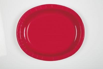 Taldrikud, punased, ovaalsed (8 tk / 30 cm)