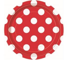 Taldrikud, punased täppidega (8 vnt./18 cm)