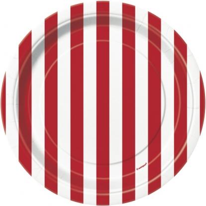 Taldrikud, punasetriibulised (8 tk./18 cm)