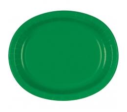 Taldrikud, rohelised ovaalsed (8 tk / 30 cm)