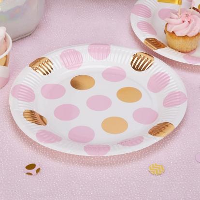 Taldrikud, roosa-kuldsete ringidega (8 tk./22 cm)
