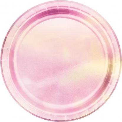 Taldrikud, roosa pärlmutter (8 tk./22 cm)