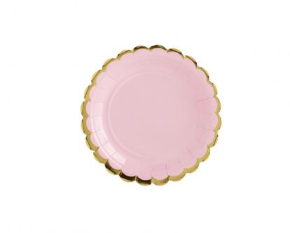 Taldrikud, roosad kuldse äärisega  (6 tk / 18 cm)