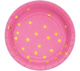 Taldrikud, roosad kuldsete täppidega (8 tk./18 cm)