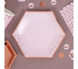Taldrikud, roosad -roosakas kuldsete tähekestega (8 tk./20 cm