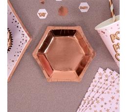 Taldrikud, roosakas-kuldsed (8 tk. 12 cm)