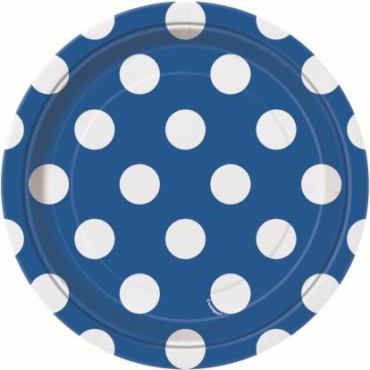 Taldrikud, sinised täppidega (8 vnt./18 cm)