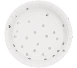 Taldrikud, valged-hõbedaste triipudega (8tk / 18 cm)