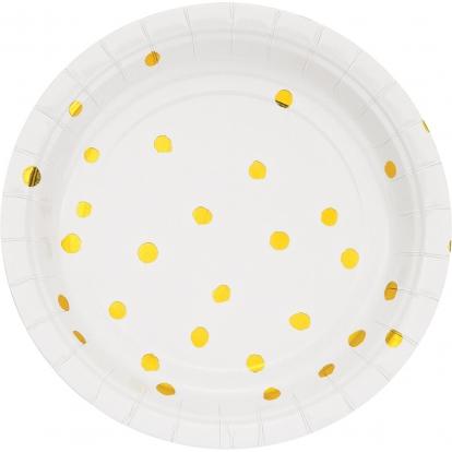 Taldrikud, valged-kuldsete triipudega (8tk / 18 cm)