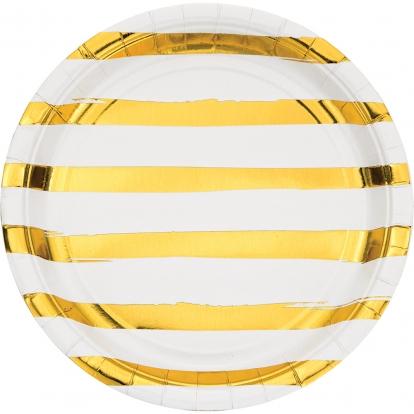Taldrikudd, valge kulla triibulised (8 tk / 22 cm)