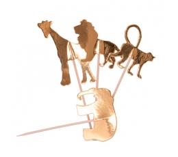 """Suupistetikud/dekoratsioonid """"Džungli loomad"""", kuldsed (20 tk./12 cm)"""