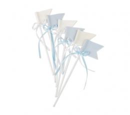 Suupistetikud-lipud paeltega, riidest-helesinised (6 tk./20 cm) 1
