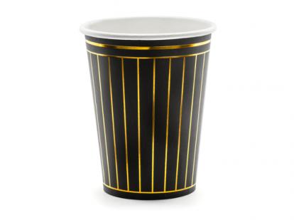Topsid, mustad kuldsete triipudega (6 tk / 260 ml)