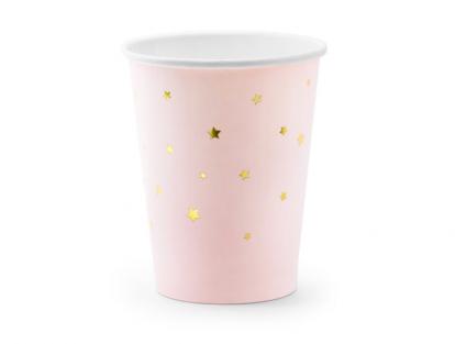 Topsid, roosad - kuldsete tähekestega (6 tk./260 ml)