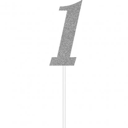"""Tordikaunistus """"1"""", hõbedaselt läikiv"""