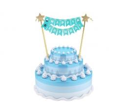 "Tordikaunistus ""Happy birthday"", helesinine-kuldne (25 cm)"