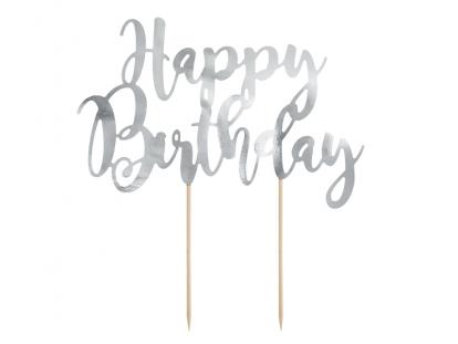 "Tordikaunistus ""Happy Birthday"", hõbedane"