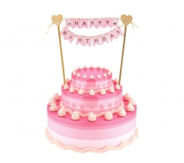 """Tordikaunistus """"Happy birthday"""", roosa-kuldne (25 cm)"""