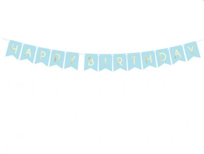 """Vanik """"Happy Birthday"""", helesinine-kuldne (1,75 m)"""