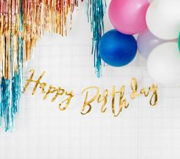 """Vanik  """"Happy Birthday"""", kuldne (16x62 cm) 1"""