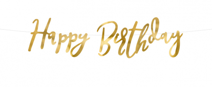 """Vanik  """"Happy Birthday"""", kuldne (16x62 cm)"""