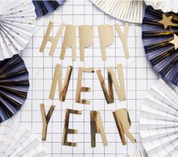 "Vanik  ""Happy New Year"". kuldne (10x90 cm) 1"