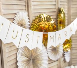 """Vanik """"Just Married"""", valge-kuldsega (1,55 m) 1"""