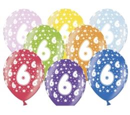 """Värvilised õhupallid """"6"""" (6 tk / 30 cm)"""