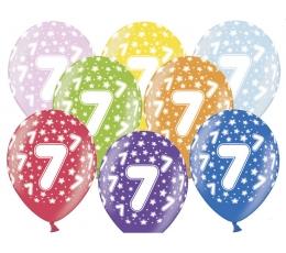 """Värvilised õhupallid """"7"""" (6 tk / 30 cm)"""