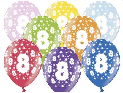 """Värvilised õhupallid """"8"""" (6 tk / 30 cm)"""