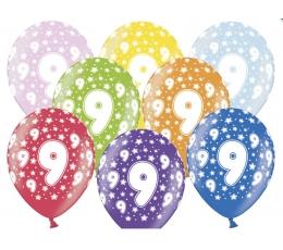 """Värvilised õhupallid """"9"""" (6 tk / 30 cm"""