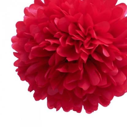 "Kaunistus ""Pom pom"" / punane (2tk / 19cm.)"