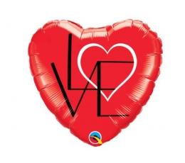 """Fooliumist õhupall """"Süda - Love"""" (46 cm)"""