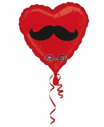 """Fooliumist õhupall """"Vuntsid"""" / süda (43 cm.)"""