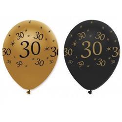"""Õhupallid """"30"""", kuldne-mustaga (6 tk.)"""