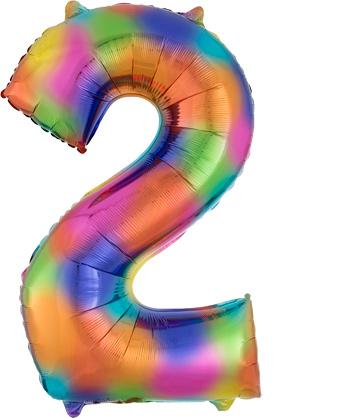 """Fooliumist õhupall """"2"""",vikerkaare värvi (85 cm)"""