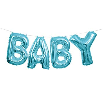 """Fooliumist õhupallide komplekt """"Baby"""", helesinine (35 cm)"""