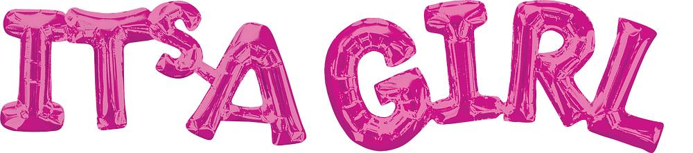 "Fooliumist õhupall-kiri ""Its'a girl"", roosa (100 x 22 cm)"