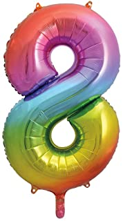 """Fooliumist õhupalli number """"8"""", mitmevärviline pastelne (86 cm)"""