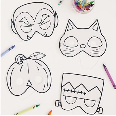 """Halloweeni maskikomplekt """"Värvi ise"""" (8 tk.)"""