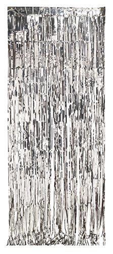 Hõbedane fooliumkardin (243 x 91 cm)