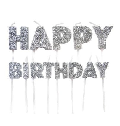 """Küünlad-tikud """"Happy Birthday"""", hõbedased"""