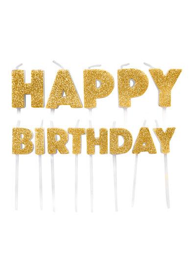 """Küünlad-tikud """"Happy Birthday"""", kuldsed"""