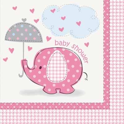 """Salvrätikud """"Baby Shower elevant"""", roosa (16 tk.)"""