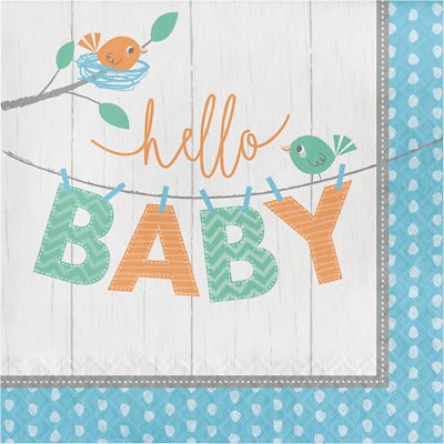 """Salvrätikud """"Linnud. Hello baby"""", helesinised (16 tk)"""