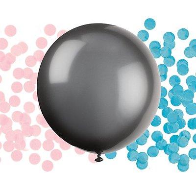 """Suur õhupall """"Kes sünnib?"""", Roosa / sinise konfetidega (1 tk / 60 cm)"""